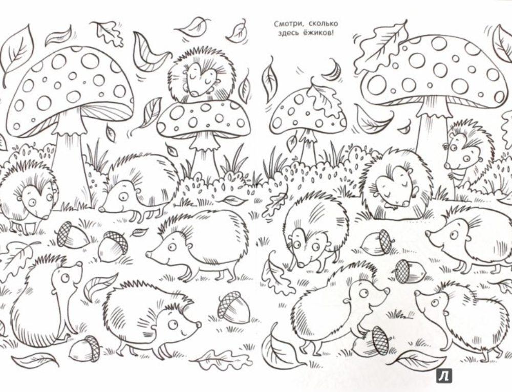 Ouriços para colorir para crianças. 100 imagens. Imprimir online!