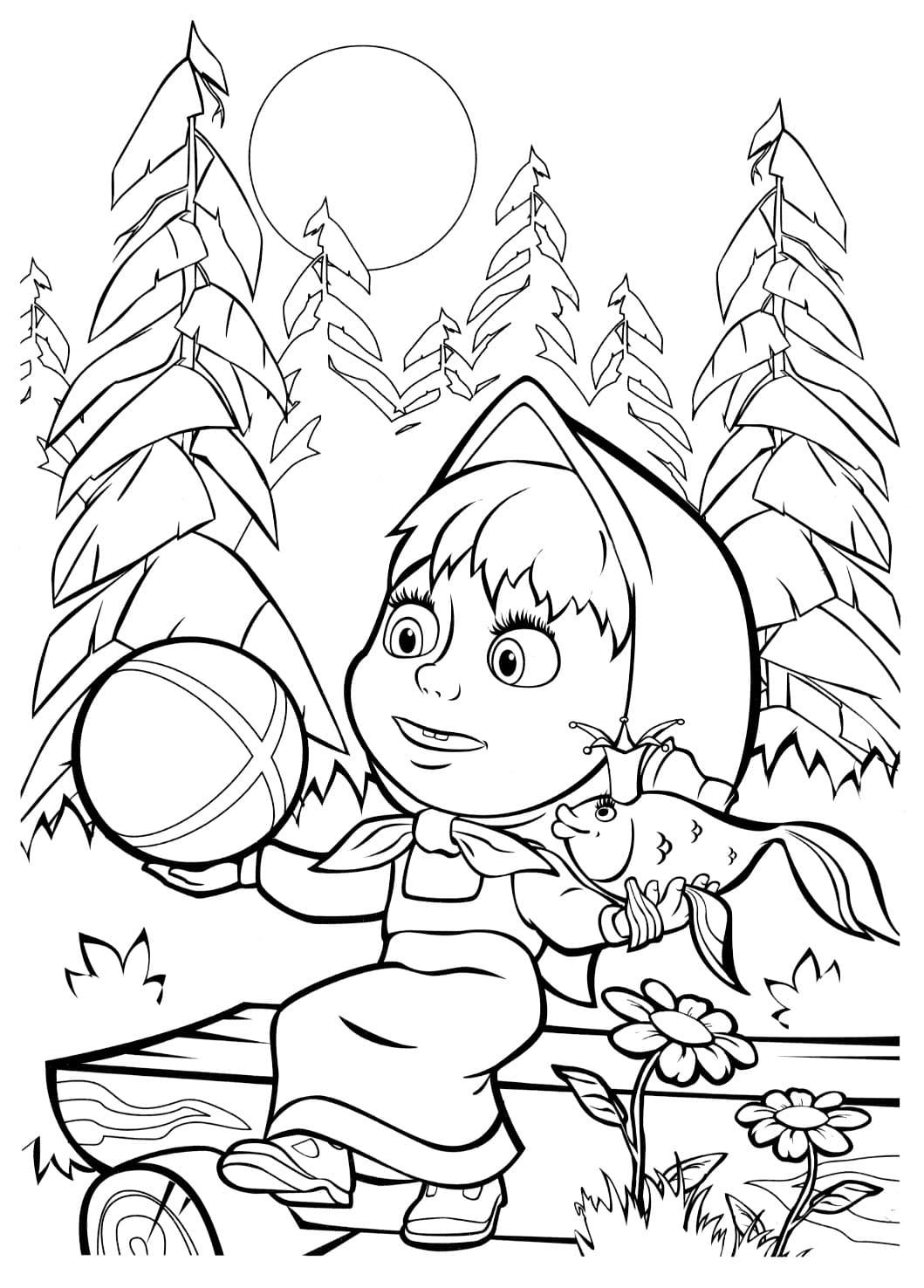 """Раскраски """"Маша и Медведь"""" для детей. Распечатайте бесплатно!"""