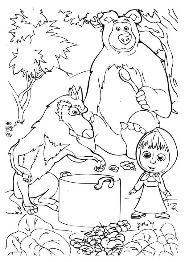 Картинки разукрашек маши и медведя обрядом обрезания
