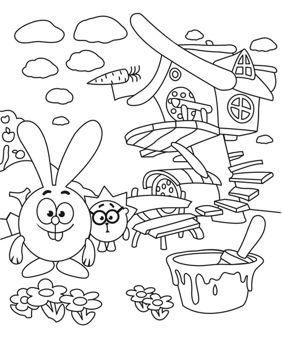 Раскраски Смешариков. Распечатайте бесплано для детей! Более 100 штук