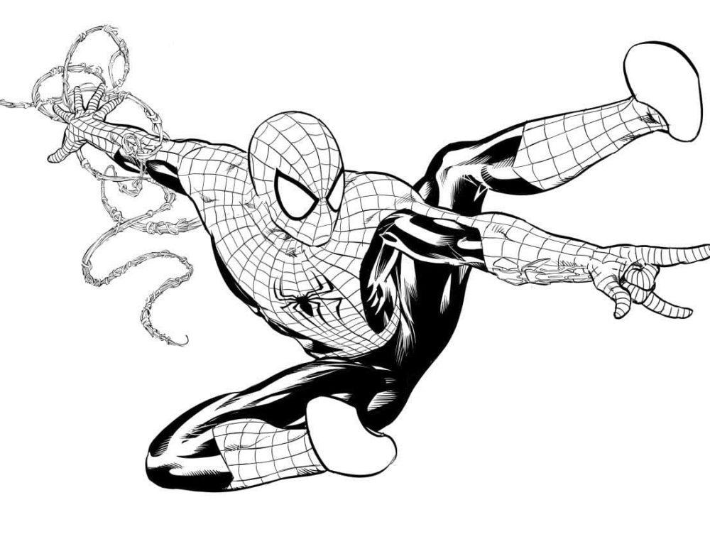 Coloriage Spiderman. Imprimer en ligne un super héros, 90 images