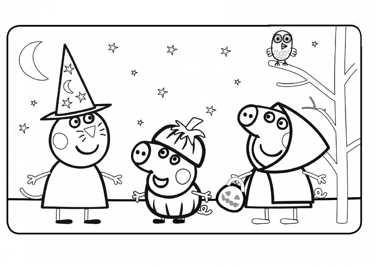 Раскраски свинки Пеппы, её семьи и друзей. Распечатать онлайн