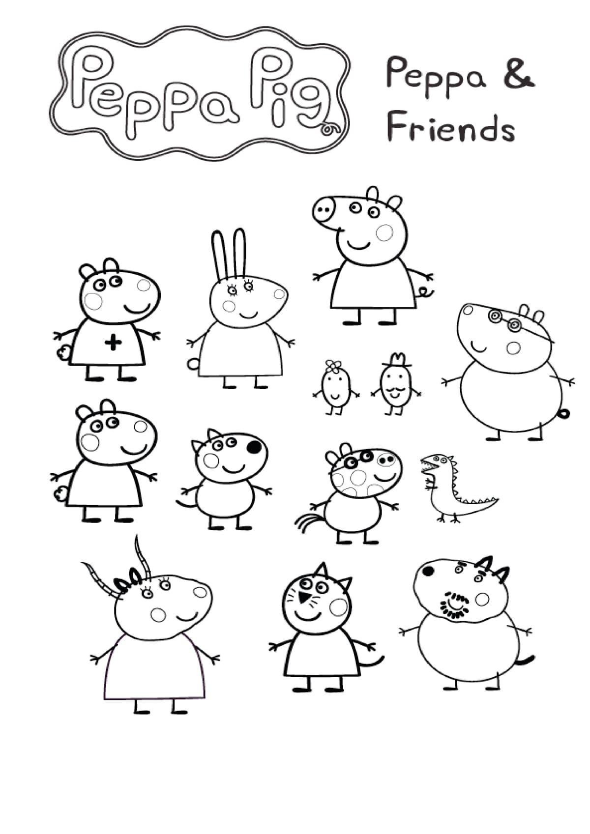 Disegni di Peppa Pig da colorare. Stampa online 90 immagini