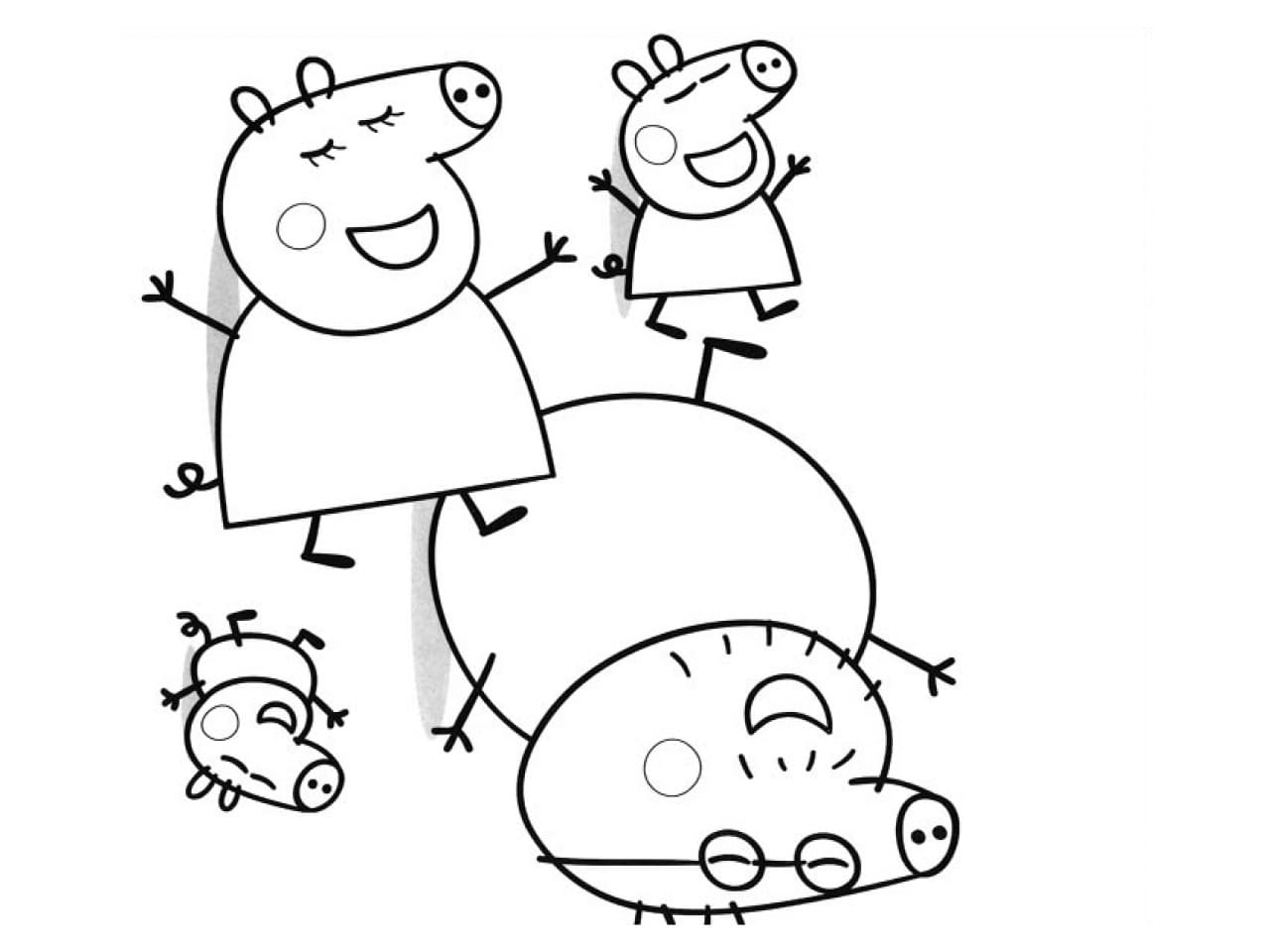 Peppa Pig coloring pages. Her family and friends. Print online
