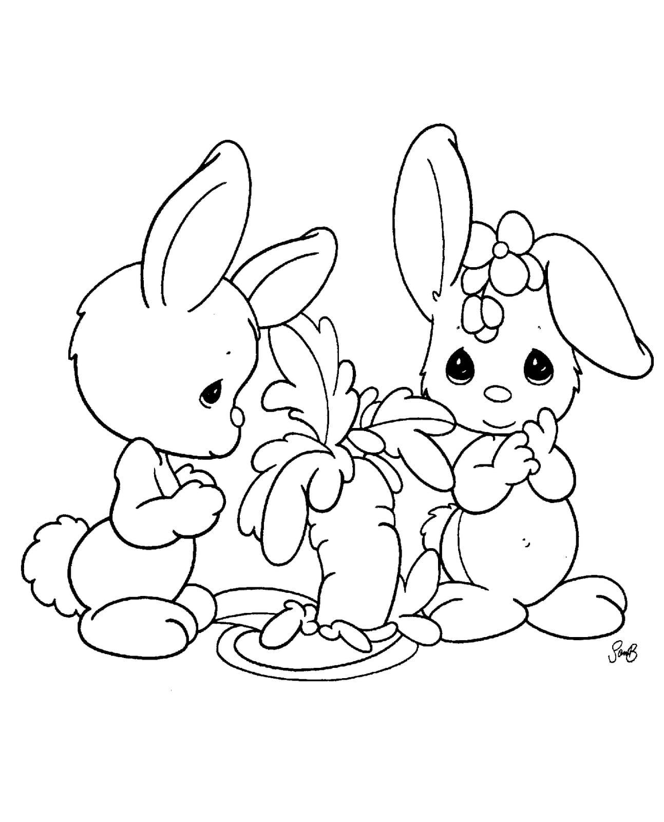 Ausmalbilder Hasen. 6 Bilder für Kinder kostenlos