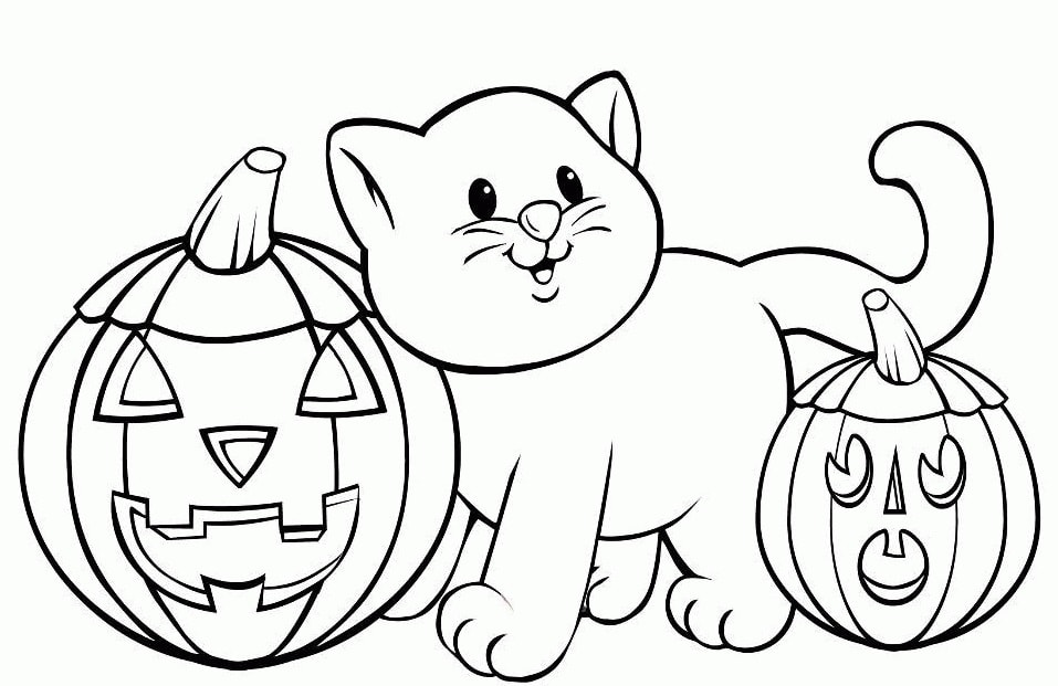 Cat Coloring Pages. Print 100 Black and White Pictures for Free