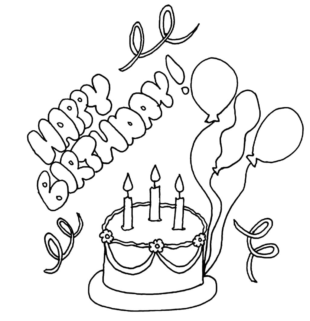 Раскраска открытка с днем рождения крестный